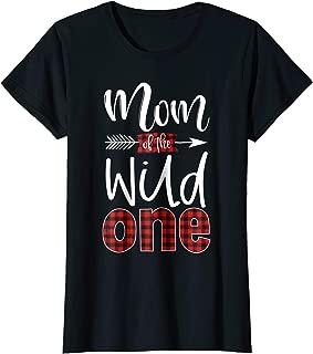 Womens Mom of the Wild One Shirt Plaid Lumberjack 1st Birthday Tee
