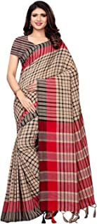 Women's Cottonsilk Woven Check Saree with Unstitched Blouse(984S101 Green)