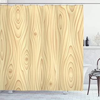 Ambesonne Beige Shower Curtain, Wooden Texture Pattern Grains of Wood Natural Tree Growth Lines of Nature Organic Theme, Cloth Fabric Bathroom Decor Set with Hooks, 84