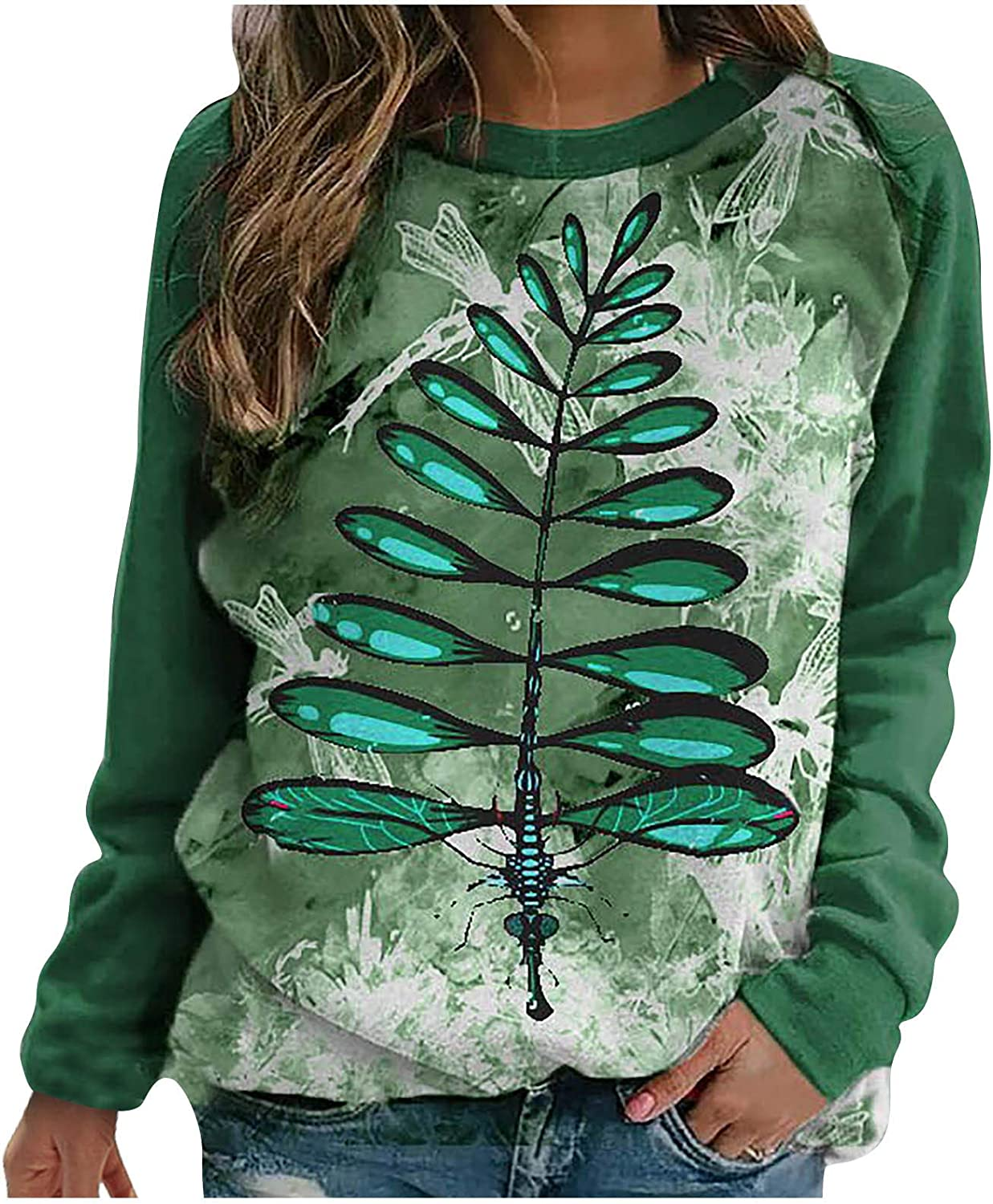 Eoailr Sweatshirt for Sale Women Letter Dragonfly Special price a limited time Womens Lightweight