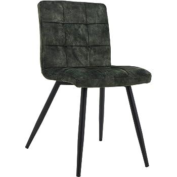 2er Set Esszimmerstuhl Polsterstuhl Stoff Samt Grau gesteppt Küchenstuhl.