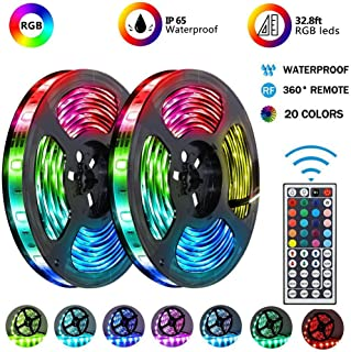 Battery-Powered Led Strip Lights, 60 LEDs 5V Waterproof Flexible Color Changing RGB 5050 LED Light Strip,17-Keys Remote Controlled with DIY Indoor and Outdoor Decoration (60LED)