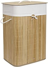 HomeStorie® Eco-Friendly Foldable Bamboo Laundry Basket Hamper with Lid, Large - 81 Liter (Light Brown)