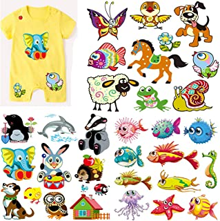 3 Sets Kids Iron On Transfers Patches Set, Akwox Assorted Fish Animal Iron on Appliques Patches Heat Transfer Stickers for T-Shirt Clothing Jeans Backpack