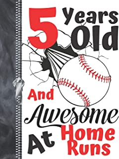 5 Years Old And Awesome At Home Runs: Baseball Doodling & Drawing Art Book Sketchbook For Boys And Girls