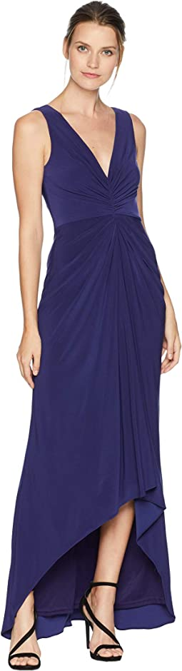 High-Low Draped Front Jersey Gown