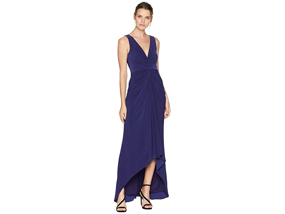 Adrianna Papell High-Low Draped Front Jersey Gown (Admiral Blue) Women
