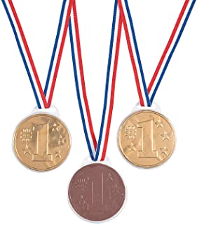 Chocolate Winner Medals, Award Medal Necklaces, Gold Metal Ribbon Candy Medallions (12)