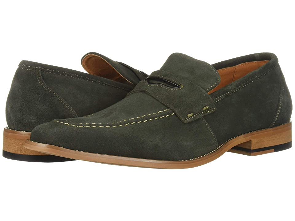 Stacy Adams Colfax Moc-Toe Slip-On Penny Loafer (Dark Green Suede) Men
