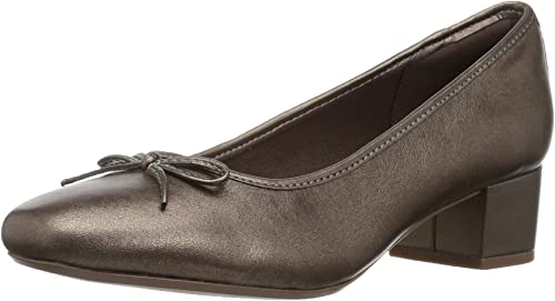 CLARKS Woherren Chartli Daisy Dress Pump, Pewter Leather, 9 W US