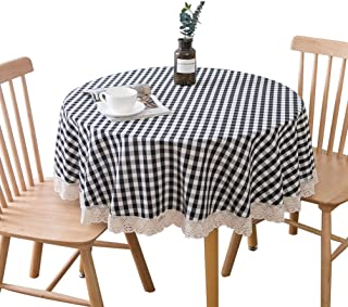 AI TAO 60 Inch Checkered Tablecloth Round - Stain Resistant, Spillproof and Wahable Gingham Table Cloth for Outdoor Picnic, Kitchen and Holiday Dinner, Black & White Mini Checkered