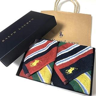 Ralph Lauren ラルフローレン ハンドタオル タオルハンカチ ギフトBOX付きハンドタオル2枚セット ボーダー マドラス (ジャクソンウール)