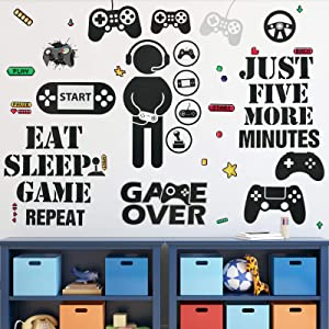 Gamer Room Decor Gaming Wall Decals Sticker Boys Room Video Game Controller DIY Cartoon Party Removable Wallpaper for Gamer Bedroom Playroom Decorations (Classic Style)