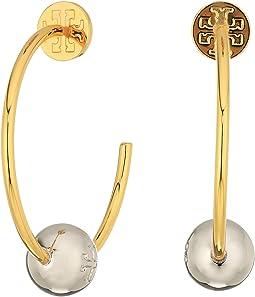 Tory Burch - Logo Loop Hoop Earrings