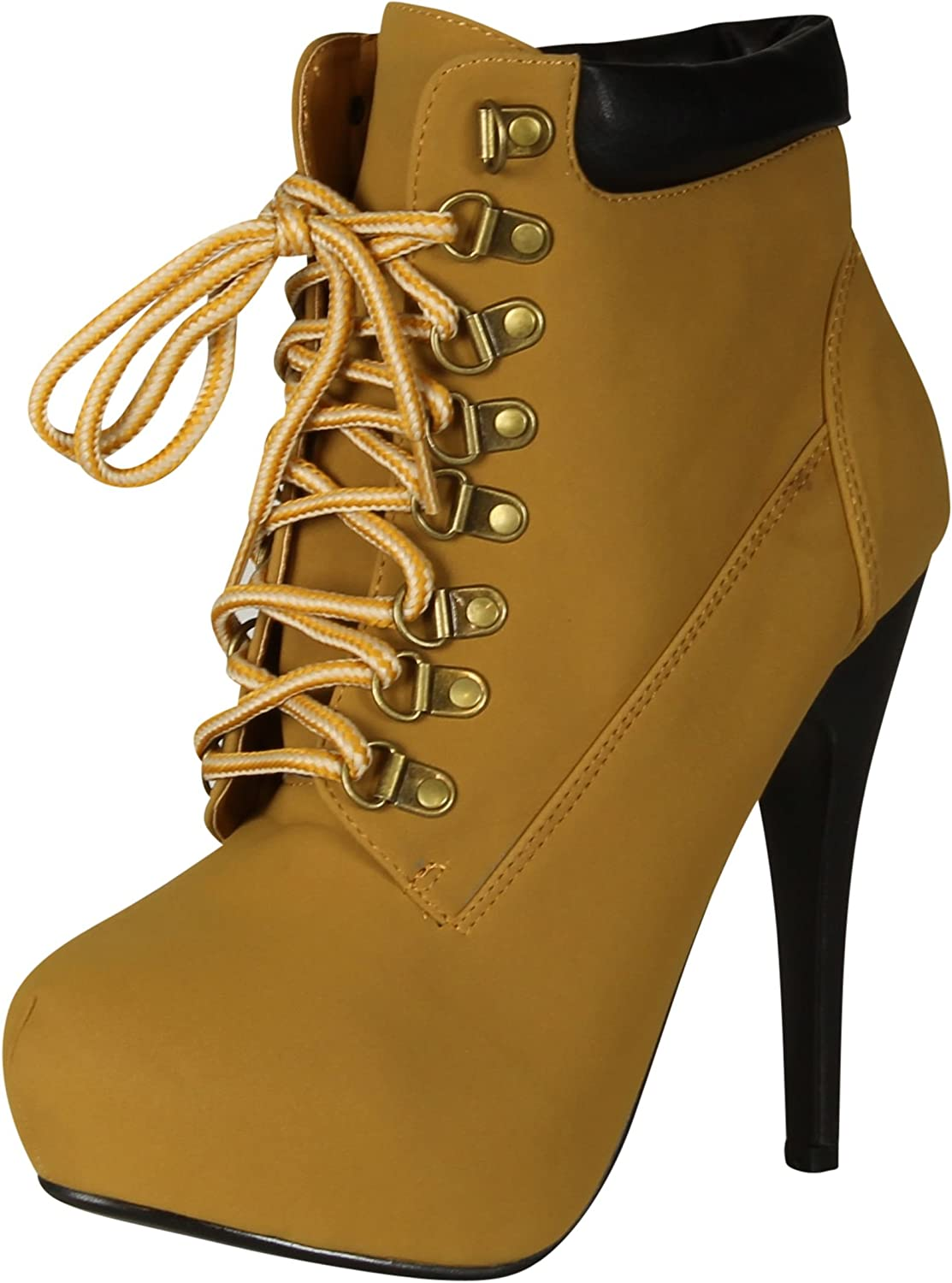 JJF Forever Link Womens Compose-01 Tyrant Military Lace up Platform Ankle Bootie,Camel,10