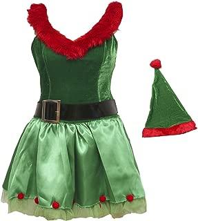 Green Christmas Santa Girl Elf Full Set Costume