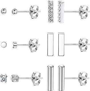 6 Pairs 925 Sterling Silver 2mm Tiny Stud Earrings Set for Women Men Mini Ball Bar(7.5mm/9mm) CZ Disc Dot Earrings Line Stick Earrings
