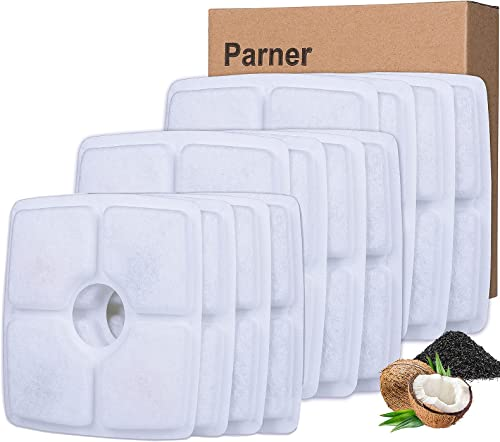 Parner Pet Fountain Filters, Carbon Replacement Filter for Cat and Dog Water Fountain-12 Packs