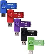 Unidad flash USB RUEOTSK, paquete de 5 unidades de memoria flash USB 2.0 giratorias de 32 GB (azul rojo púrpura verde negro)