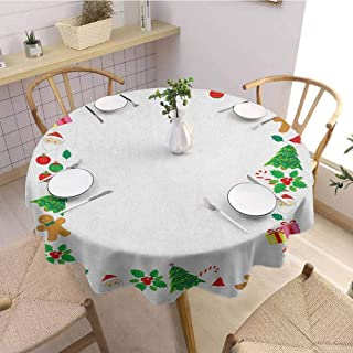 Luoiaax Kids Christmas Waterproof Anti Wrinkle no Pollution Colorful Border with Different Clip Arts Holiday Festivity Santa Trees Balls Round Tablecloth D70 Inch Round Multicolor