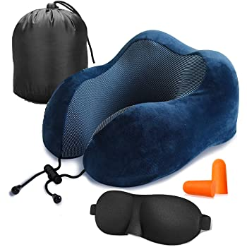 Coussin de Voyage Velours Mousse /à M/émoire Oreiller Support du Cou Accessoire avec Masque pour Les Yeux Avion Voiture Portable Kit de Voyage Dihope