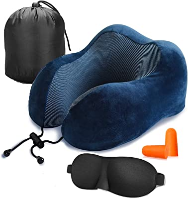 Lucear Travel Pillow Luxury Memory Foam Neck & Head Support Pillow Soft Sleeping Rest Cushion for Airplane Car with 3D Sleep Mask, Earplugs, and Luxury Bag(Navy Blue1)