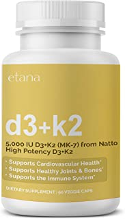 Etana — D3+K2 — High Potency Supplement — for Immune, Cardiovascular, Bone, & Joint Health — Health and General Wellness C...