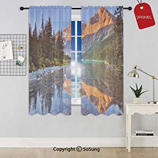 SoSung Canadian Rocky Mountain Range on Edith Cavell Lake Pastoral Image Rod Pocket Sheer Voile Window Curtain Panels for Kids Room,Kitchen,Living Room & Bedroom,2 Panels,Each 52x63 Inch,Multi