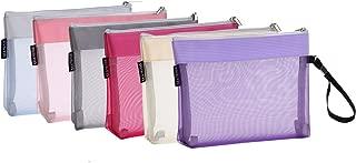 Sea Team 6pcs Multicolored Portable Travel Toiletry Pouch Nylon Mesh Cosmetic Makeup Organizer Bag with Zipper (ST-CB0616)
