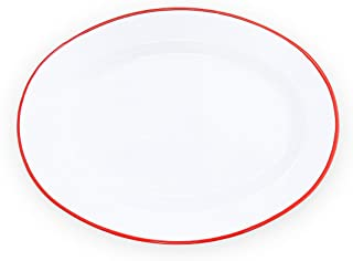 Enamelware Oval Plate, 11.75 inch, Vintage White/Red (Set of 4)