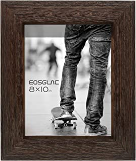 Eosglac Rustic Picture Frame 8x10, Weathered Dark Brown Reclaimed Look Wooden Photo Frame, Tabletop or Wall Mounting Display