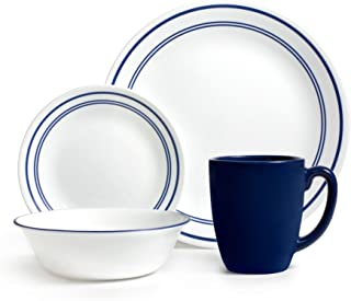 Corelle Livingware 16-Piece Dinnerware Set, Classic Cafe Blue, Service for 4 (1092894)