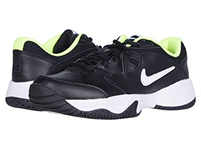 Nike Kids Court Jr. Lite 2 Tennis (Little Kid/Big Kid) (Black/White/Volt) Kid
