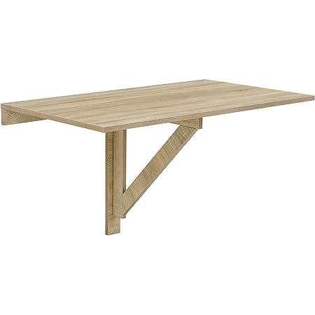 [en.casa] Table Murale Table Rabattable Table Pliable Effet hêtre 100 x 60 x 58cm Mélaminé