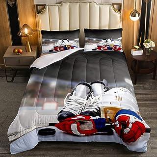 Erosebridal Ice Hockey Comforter Set Twin, Hockey Player Down Comforter for Kids Boys Girls Teens Juvenile, Sports Game Du...