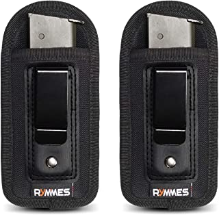 RYMMES 2-Pack Universal IWB Inside Waistband Magazine Holster | Concealed Carry Pistol Handgun Mag Pouch for Glock 17 19 26 43 Sig 1911 S&W M&P Springfield | Fits 7 10 15 Round Ammo Clips 9mm .45 .380