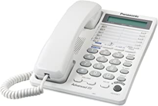 Panasonic KX-TS208W 2-Line Integrated Phone System with 16-Digit LCD and Clock Hearing Aid Compatibility 3-Way Conferencing Speakerphone, White