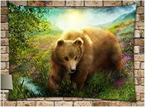 """KRWHTS Wall Tapestry Bear and Pine Forest at Sunset Cotton Linen Tapestry Wall Hanging Wall Art Home Decor for Living Room Bedroom150130cm(60"""" 52"""")"""