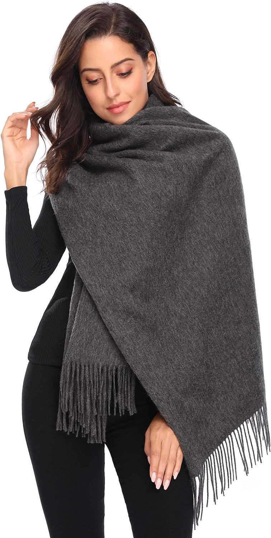 I+k 100% Pure Wool Scarf Womens Winter Warm Wrap Shawl Pashmina with Gift Box