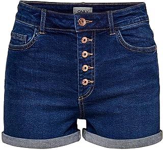 Only Onlcarmen Life Reg Lace DNM Shorts Bj Pantalocini Denim Donna