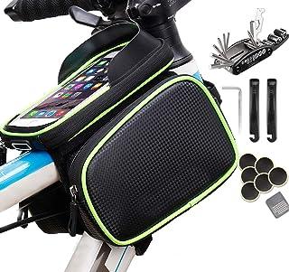 Bike Front Phone Bag, Home-Mart Bike Handlebar Frame Bag With 16 IN 1 Bike Repair Tool Kit, 3 In 1 Large Capacity Bicycle ...