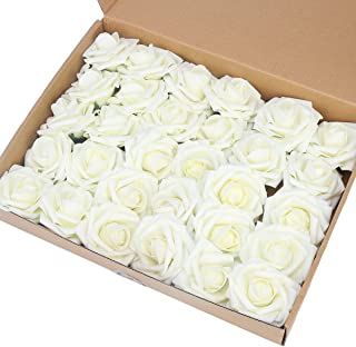 Awtlife 60 pcs Artificial Flower Rose Artificial Roses for DIY Bouquets Wedding Party Baby Shower Home Decor