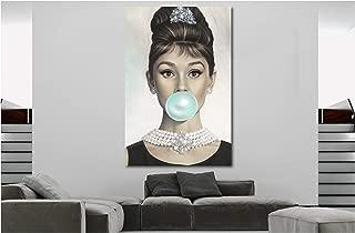 Audrey Hepburn Bubble Gum Canvas Wall Art Print (24in x 36in Framed)
