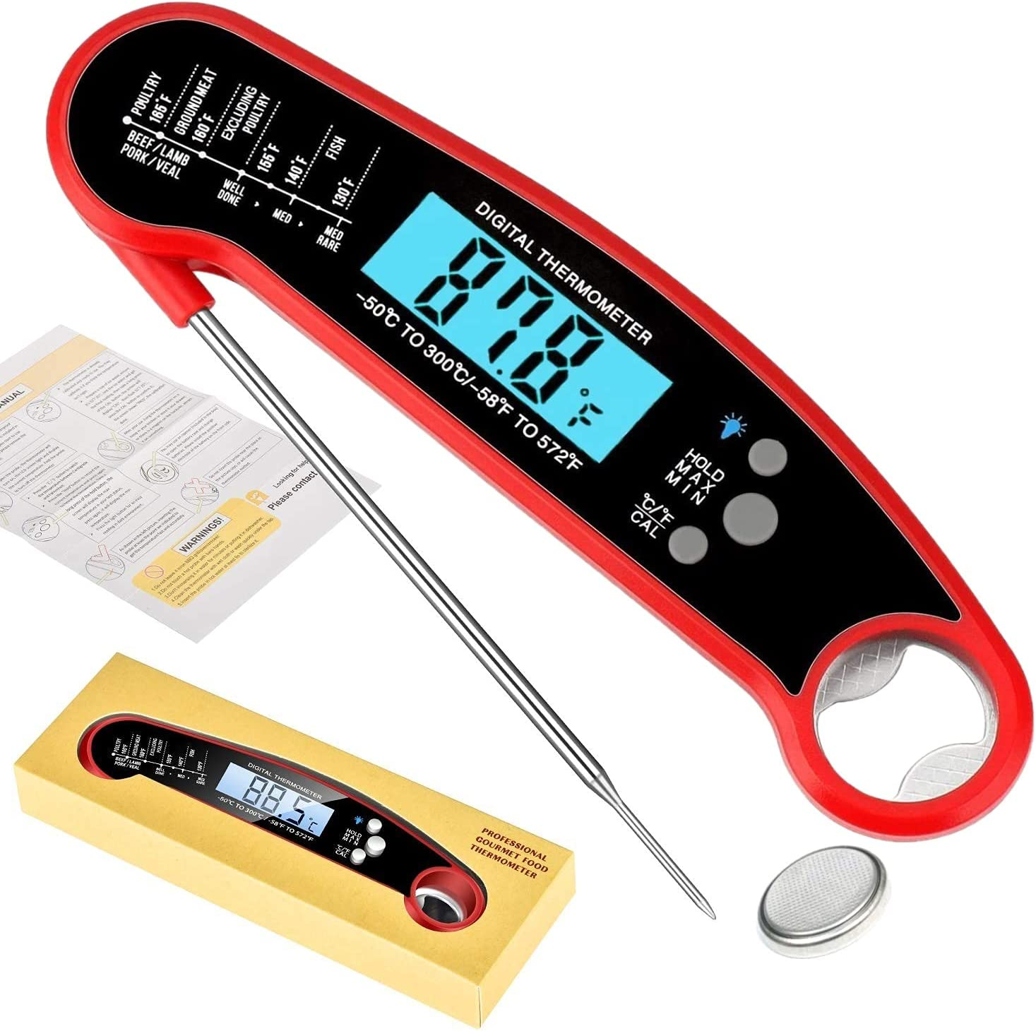 Tacman Ranking TOP9 Waterproof Max 89% OFF Instant Read Meat Fas Cooking Thermometer for