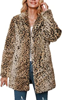 GDJGTA Cardigan for Womens Winter Warm Thick Leopard Hooded Coat Splicing Cardigan Plush Jacket