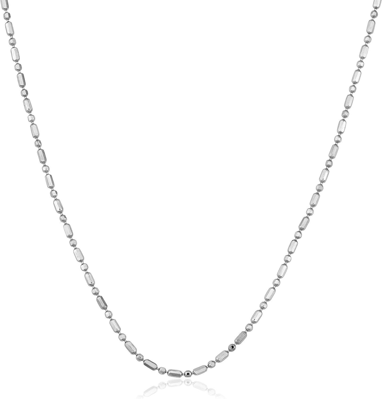 Kooljewelry 14k White Gold 0.8 mm Diamond-Cut Alternate Bead Ball Chain Necklace