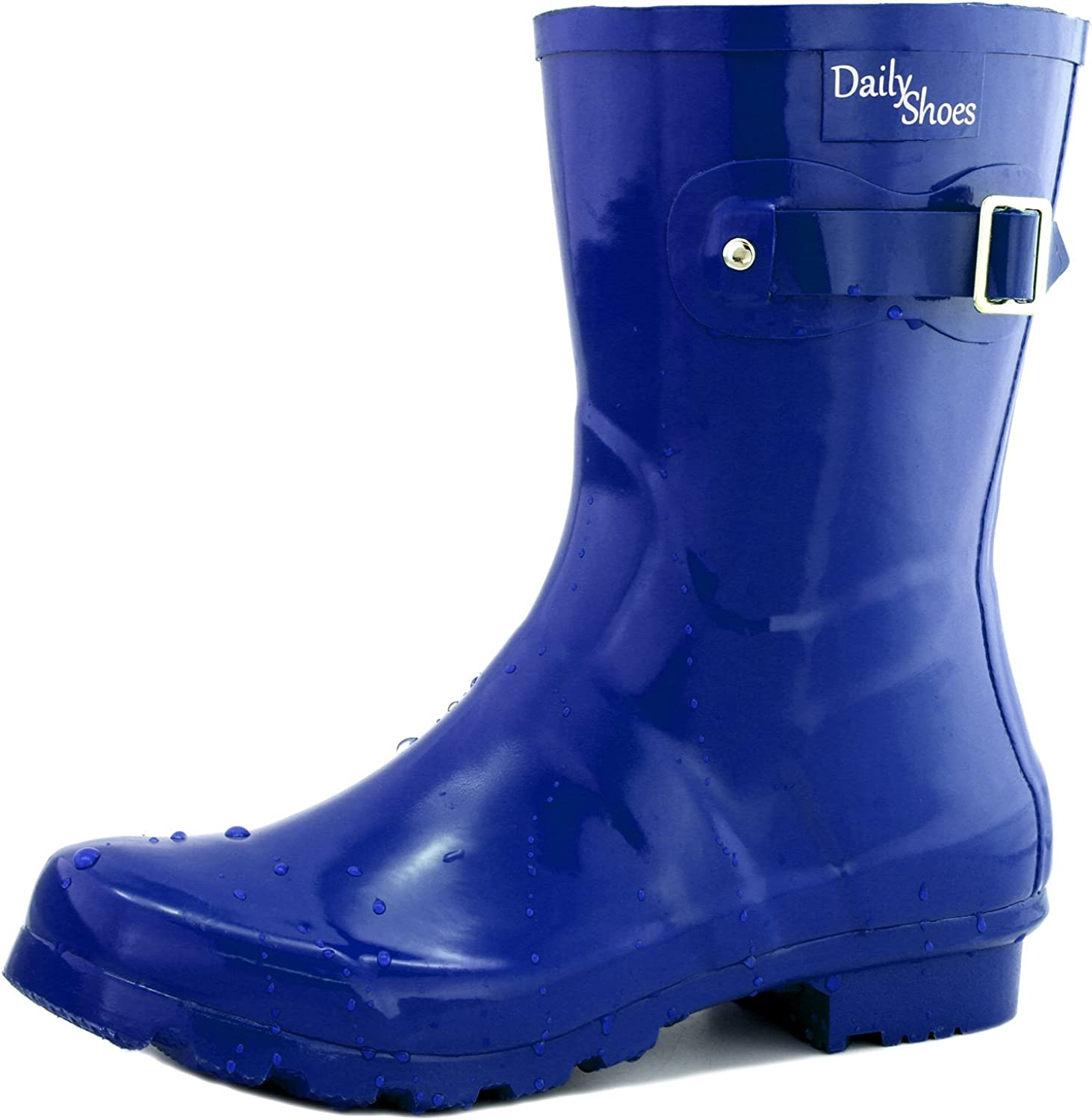 Dailyshoes Women's Mid Calf Buckle Ankle High Hunter Rain Round Toe Rainboots