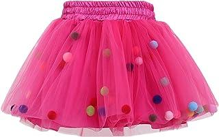 GoFriend Tutu Skirt Baby Girls Tulle Princess Dress 4-Layer Fluffy Ballet Skirt with Little Pom Pom Puff Ball