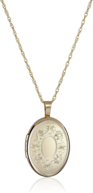 14k Gold-Filled with Floral Design and Center Signet Oval Hand Engraved Locket Necklace, 18