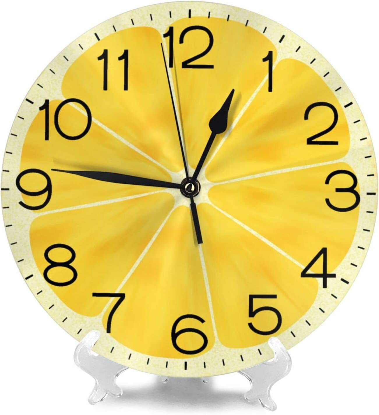 Battery Operated Wall Clock Clocks for Home Decor Living Room Kitchen Bedroom Office School N//W Bright Yellow Orange Wall Clock 10 Round,